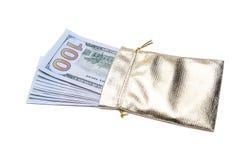 Sacco dell'oro in pieno dei dollari Immagini Stock Libere da Diritti
