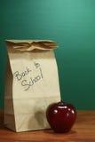 Sacco della refezione che si siede sull'insegnante Desk Immagine Stock Libera da Diritti