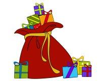 Sacco della Santa dei regali di natale Immagini Stock Libere da Diritti