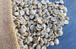 Sacco della tela da imballaggio dei chicchi di caffè verdi immagine stock
