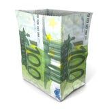 Sacco di carta cento euro Fotografie Stock Libere da Diritti