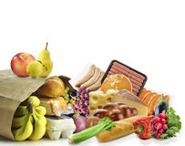 Sacco di carta con alimento Fotografia Stock