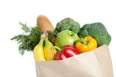 Sacco di carta con il cibo sano Fotografia Stock Libera da Diritti