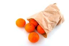 Sacco di carta con il mandarino Fotografia Stock Libera da Diritti