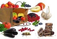 Sacco di carta con le verdure e le frutta Fotografia Stock