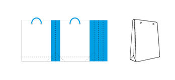 Sacco di carta del mestiere bianco e blu della borsa attuale - illustrazione vettoriale