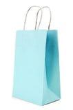 Sacco di carta della pasta blu su fondo bianco Fotografia Stock Libera da Diritti