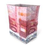 Sacco di carta dieci euro Fotografie Stock