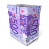 Sacco di carta fivehundred euro Fotografia Stock