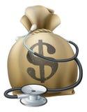 Sacco e stetoscopio dei soldi del dollaro Fotografia Stock Libera da Diritti