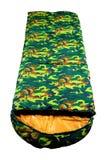 Sacco a pelo turistico di colore del cammuffamento caldo per l'escursione e per una tenda, isolato su fondo bianco Fotografia Stock Libera da Diritti
