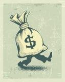 Sacco pieno del dollaro del segno dei soldi con la camminata delle gambe Fotografia Stock