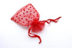 Sacco rosso del merletto Immagini Stock Libere da Diritti