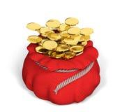 Sacco rosso in pieno della rappresentazione dorata delle monete 3d Immagini Stock Libere da Diritti