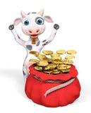 Sacco rosso in pieno delle monete e della rappresentazione dorate della mucca 3d del fumetto Fotografia Stock Libera da Diritti