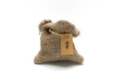 Sacco vuoto della tela da imballaggio con l'etichetta dei soldi Immagini Stock Libere da Diritti