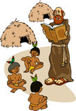 Sacerdote con los indios Foto de archivo libre de regalías