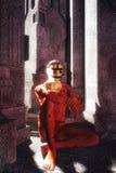 Sacerdote de la fantasía en el templo Fotografía de archivo libre de regalías
