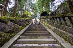 Sacerdotes sintoístas en la capilla de Toshogu imagen de archivo