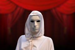 Sacerdotisa de la magia roja, hechicero con la casa de campo masónica oculta de la máscara mágica, fondo rojo Imágenes de archivo libres de regalías