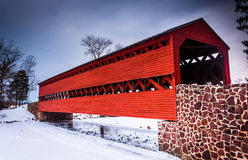 Sach's Covered Bridge during the winter, near Gettysburg, Pennsy Stock Photo