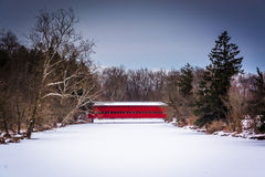 Sach's Covered Bridge during the winter, near Gettysburg, Pennsy Stock Images