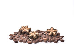 Sacha inchi, sacha mani or star inca peanut seed on white backgr Royalty Free Stock Photography
