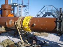 Sachalin, Russland - 12. November 2014: Bau der Erdgasleitung auf dem Boden Stockbild