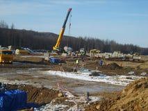 Sachalin, Russland - 12. November 2014: Bau der Erdgasleitung auf dem Boden Stockbilder