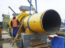 Sachalin, Russland - 12. November 2014: Bau des Gaszackens Lizenzfreie Stockfotos