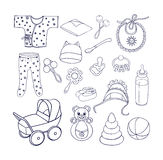Sachen und Spielwaren für die Babyikonen eingestellt Lizenzfreie Stockfotos
