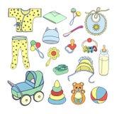Sachen und Spielwaren für die Babyikonen eingestellt Stockfotos