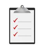 Sachen, zum der Checkliste zu tun Stockbild