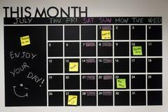 Sachen, zum des Wandkalenders zu tun stockfoto