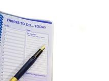 Sachen, zum heute zu tun Stift und Verabredungsnotizbuch Stockbilder