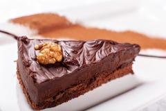 sacher巧克力蛋糕片断,与核桃装填的可可粉饼干和黑暗的巧克力结冰在板材服务 免版税库存照片