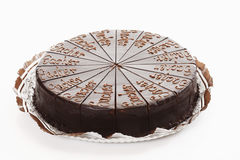 Sacher cake on paper plate Stock Images