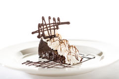 Sacher cake with whipped cream and chocolate Stock Photography