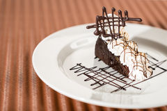 Sacher cake with whipped cream and chocolate Royalty Free Stock Photos