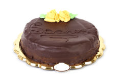 Sacher cake on white background Royalty Free Stock Photo