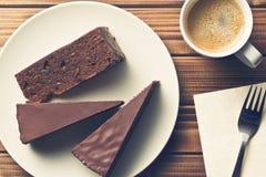 Sacher kaka och kaffe Arkivfoto