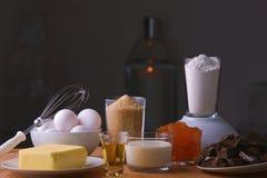 Sacher torta składników frontowy widok Fotografia Royalty Free