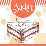 Sacher  vector illustration. Bakery design. Beautiful card with decorative typography element. Pie icon for poster Royalty Free Stock Photography
