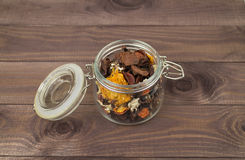 Sachet, decorative glass jar with dry leaves Royalty Free Stock Images