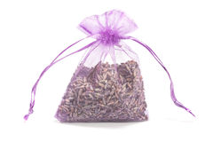 Sachet with dry lavender flowers Royalty Free Stock Image