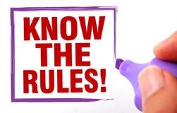 Sachez les règles Photographie stock