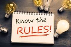 Sachez les règles Photo stock