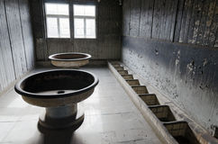 Sachsenhausen. Oranienburg was a Nazi concentration camp in Germany.  wash-up area. Barrack No. 38, which is now a Museum Stock Photo