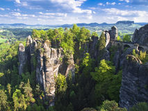 Sachsische Schweiz. Bastei view of rocks in spring sunny day Royalty Free Stock Photo