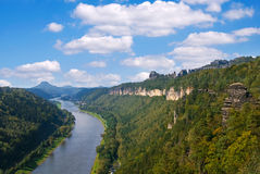 Sachsische Schweiz. Elbe river and saechsische schweiz sandstone mountains in germany Stock Photos